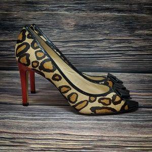 Enzo Angiolini Sz 8.5 Leopard Cheetah Peep Toe Bow